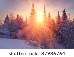Winter sunrise - stock photo