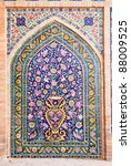 Small photo of Tiled oriental ornaments from Agha Bozorg school and mosque in Kashan, Iran