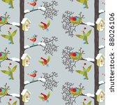 Birds In Winter Forest