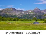 Lofoten islands, Norway, scenic place for wildcamping - stock photo