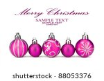 Five different sized Christmas baubles together - stock photo