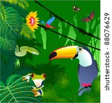 vector jungle with frog  toucan ... | Shutterstock .eps vector #88076629
