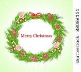 christmas wreath   Shutterstock .eps vector #88086151
