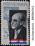 Small photo of UNITED STATES OF AMERICA - CIRCA 1970 : stamp printed in USA showing Adlai Stevenson American politician, circa 1970