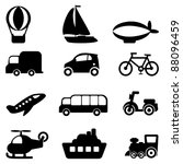 Transportation icons set-Silhouettes - stock vector