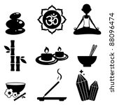 Yoga icons set-Silhouettes - stock vector