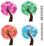 vector season trees   Shutterstock .eps vector #88105285