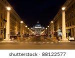 St. Peter's Basilica with evening light, seen from Via della Conciliazione, Rome - stock photo