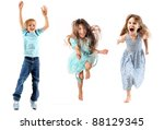 happy children jumping and... | Shutterstock . vector #88129345