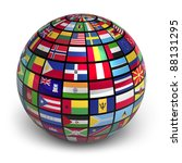 globe with world flags isolated ... | Shutterstock . vector #88131295