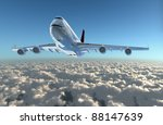 Aircraft fly to the sky explain the holiday tourism.Enjoy the travel leisure time. - stock photo