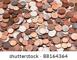 Pile of coins; British currency - stock photo