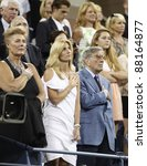 NEW YORK - AUGUST 29: Tony Bennett & Susan Crow attend 1st round match between Venus Williams & Vesna Dolonts of Russia at USTA Billie Jean King National Tennis Center on August 29, 2011 in NYC - stock photo