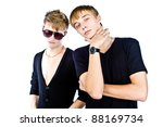 two sexy guys in black, white on top of an isolated - stock photo