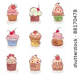 a set of fun cakes | Shutterstock .eps vector #88170478