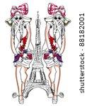 paris catwalk girl | Shutterstock .eps vector #88182001