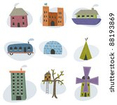 collection of homes isolated on ... | Shutterstock .eps vector #88193869
