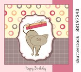 happy birthday card with cute... | Shutterstock .eps vector #88197343