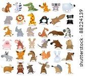 Stock vector big vector cartoon animal set 88224139
