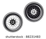Car wheels and tires isolated on white background, such a logo. Jpeg version also available in gallery - stock vector