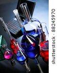 laboratory glassware on blue