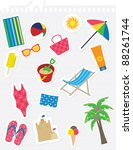 various summer theme stickers... | Shutterstock .eps vector #88261744