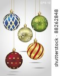 christmas ornaments hanging on... | Shutterstock .eps vector #88262848