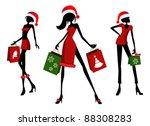christmas shopping. 3 different ... | Shutterstock .eps vector #88308283