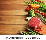 Raw Steak On The Wooden Board.