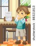 A Vector Illustration Of A Boy...