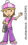 girl vector illustration | Shutterstock .eps vector #88329091