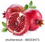 ripe pomegranates with leaves... | Shutterstock . vector #88333471