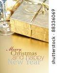golden gift box with golden... | Shutterstock . vector #88336069