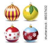 set of christmas baubles | Shutterstock .eps vector #88337632