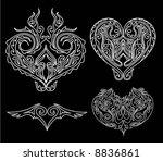 tribal heart tattoo | Shutterstock .eps vector #8836861