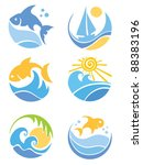 a set of icons   of fish and sea