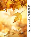 autumn leaves falling against a ... | Shutterstock . vector #88402015
