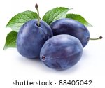 Group Of Plums With Leaf...