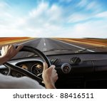 Driver\'s Hands On A Steering...