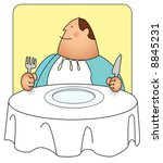 Illustration of a man with a big grin and a big appetite. you can re-color to your preference using vector program. - stock vector