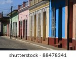Beautiful multicolored cuban street - stock photo