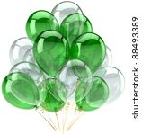 Party balloons green white colorless translucent. Happy birthday decoration anniversary retirement graduation celebration. Joy fun positive abstract. Detailed 3d render. Isolated on white background - stock photo