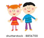 boy  girl   kiddie style drawing | Shutterstock . vector #8856700
