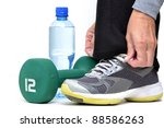preparing for fitness workout - stock photo