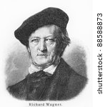Richard Wagner - Picture from Meyers Lexicon books written in German language. Collection of 21 volumes published between 1905 and 1909.