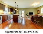 modern new brown kitchen with... | Shutterstock . vector #88591525