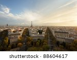 Aerial view of Paris and Eiffel Tower at sunset - stock photo