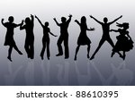 dancing silhouettes with... | Shutterstock . vector #88610395