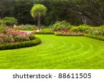 Stock photo freshly mowed lawn in a formal garden 88611505