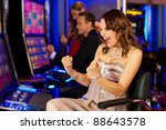 friends in casino on a slot... | Shutterstock . vector #88643578